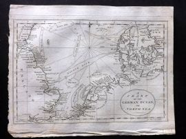 Mutlow 1801 Antique Map. A Chart of the German Ocean or North Sea
